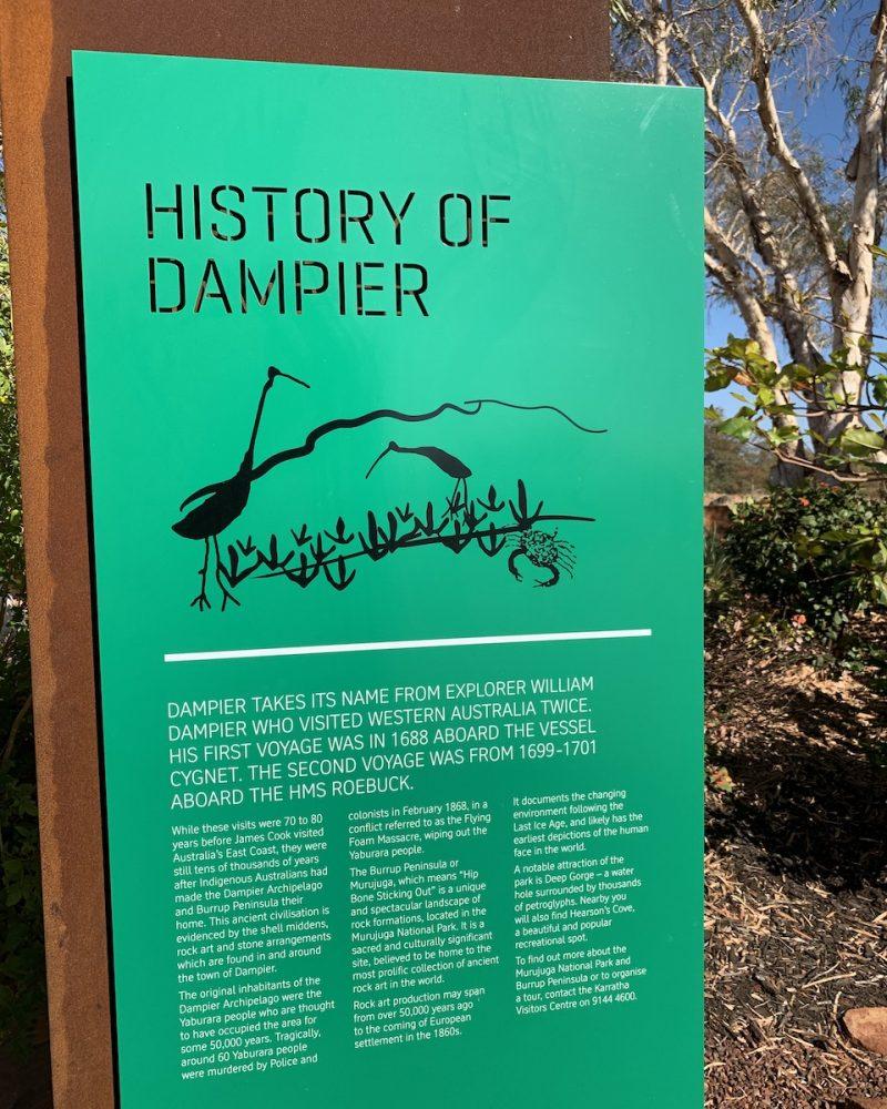 History of Dampier Sign - Dampier, Western Australia